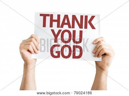 Thank You God card isolated on white background