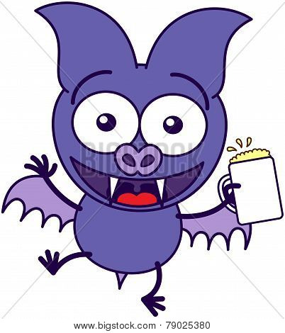 Purple bat celebrating with beer