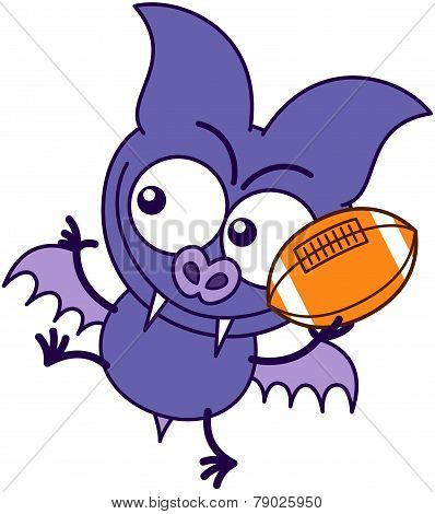 Purple bat playing football