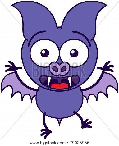 Purple bat feeling surprised and scared
