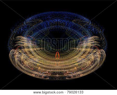 illustration of abstract light with tree and reindeer