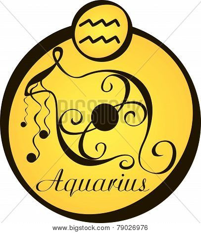 Stylized Zodiac Signs In A Yellow Circle - Aquarius.eps