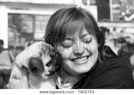 Woman And Pug