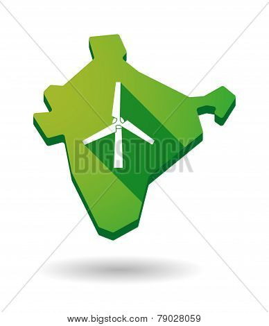 India Map Icon With A Wind Generator