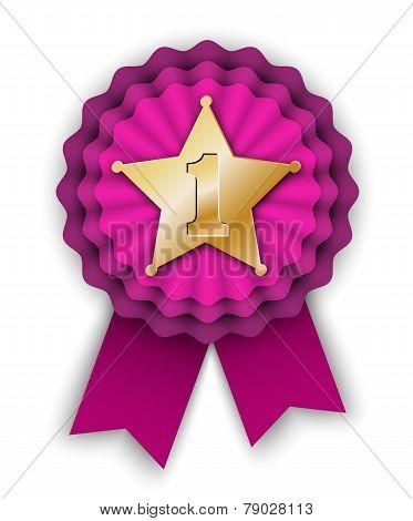 Purple Winner Rosette Vith Gold Star
