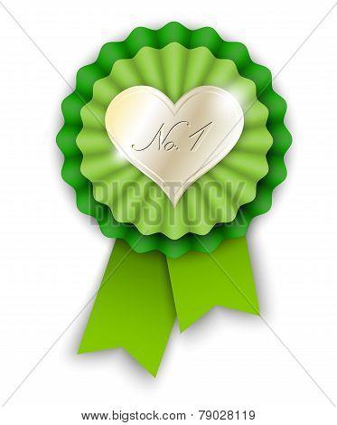 Green Ribbon Rosette With Golden Heart