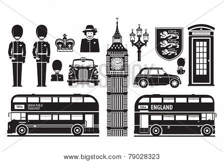 England, London, UK set of icons