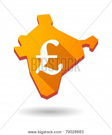 India Map Icon With A Currency Sign