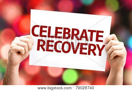Celebrate Recovery card with colorful background with defocused lights