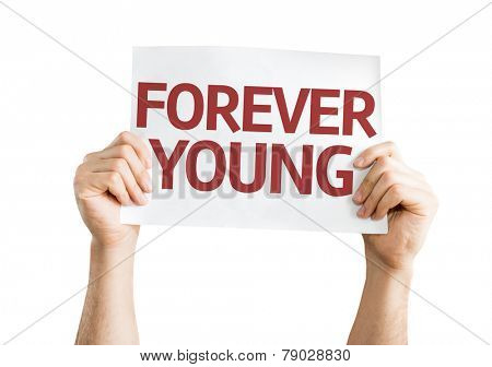 Forever Young card isolated on white background