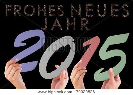 Hands holding poster against glittering frohes neues jahr