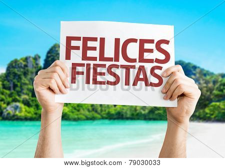 Happy Holidays (in Spanish) card with a beach on background
