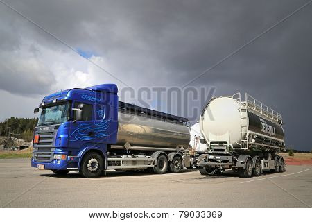 Scania R480 Tank Truck and a Trailer On A Yard