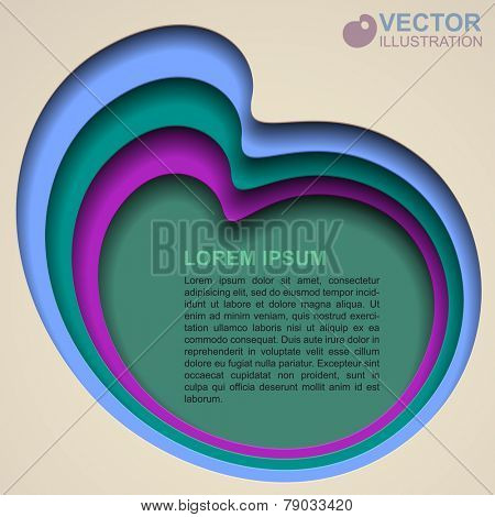 Polychrome abstract background with paper hole shapes. Vector illustration
