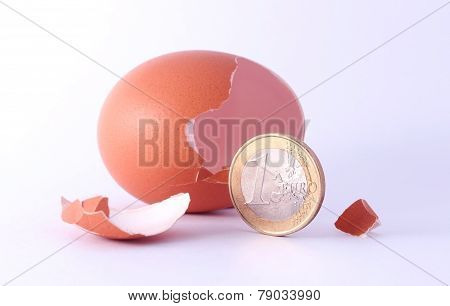 1 Euro Coin Getting Out Of Cracked Hatched Egg. Symbol For Economy, Business, Income, Banking, Finan