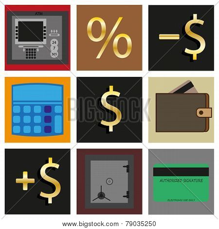 Set Of Icons. Cash Transactions.