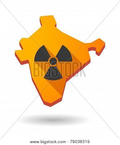 India Map Icon With A Radioactive Danger Sign