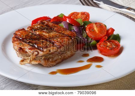 Beautiful Medallion Of Pork With Vegetables, Horizontal