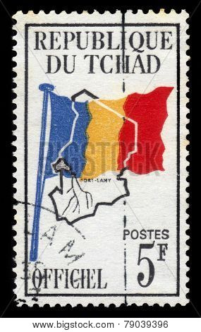 Country Flag On Map Of Chad