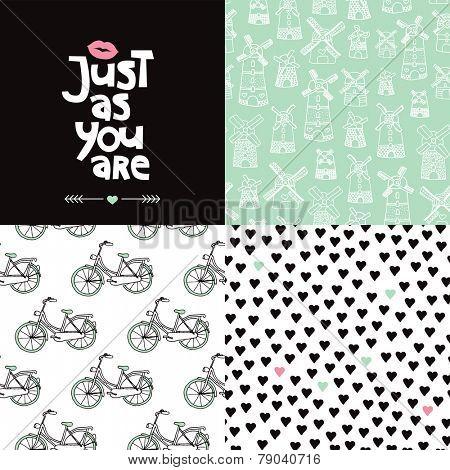 Sweet valentine postcard cover design and seamless hearts bike and dutch windmill background pattern set in vector