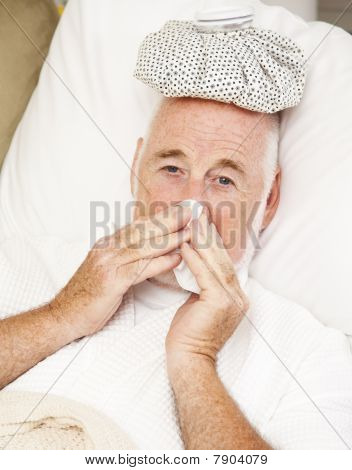 Senior Man With Flu