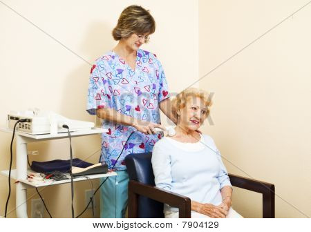 Senior Woman Gets Ultrasound