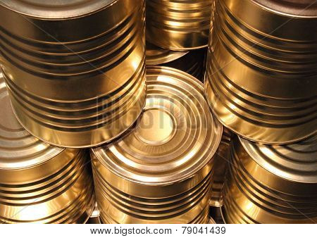 Topview Of Golden Metal Cans With Line Cut Perspective