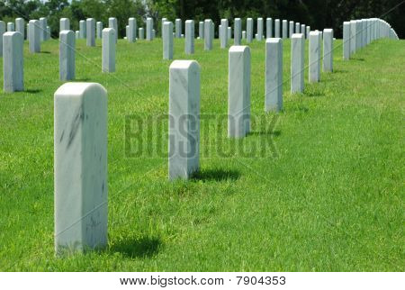 Rows of Military Gravestones