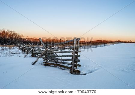 Winter Field And Fence