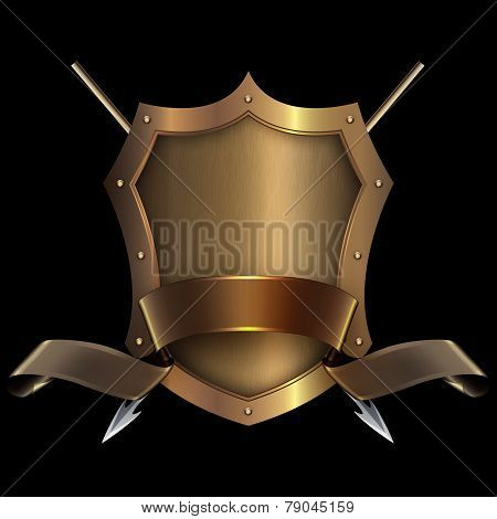 Gold Riveted Shield With Gold Ribbon And Spears.