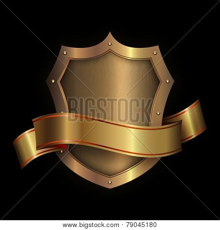 Gold Riveted Shield With Gold Ribbon.