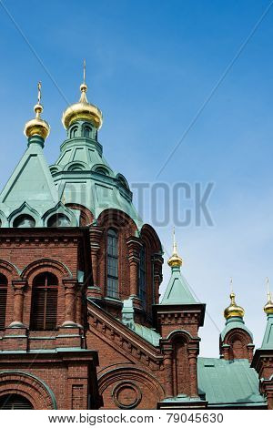 Gilded Onion Domes Of Uspenski Cathedral