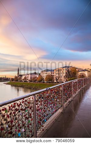 Padlocks Of Love On A Bridge Of Salzburg