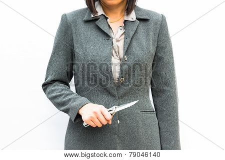 Businessman standing posture show hand with knife