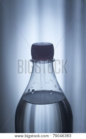 Soda Lemonade Soft Drink Bottle Plain Blue Studio Background