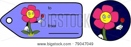 funny flower cartoon giftcard