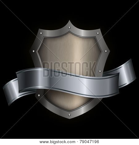 Silver Riveted Shield With Silver Ribbon.