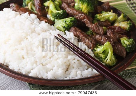 Asian Beef With Broccoli And Rice Macro. Horizontal