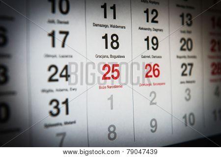 December 25 In The Calendar