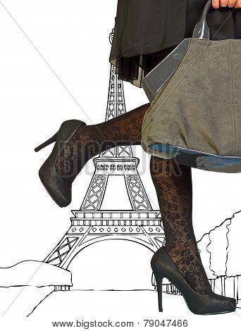 An Elegant And Seductive Woman In Paris