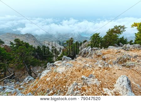 Summer Morning Cloudy Top View Of Mount Aenos (kefalonia, Greece).