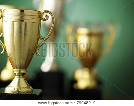 Close up champion golden trophy
