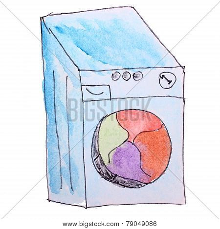 Washer watercolor drawing cartoon isolated on a white background