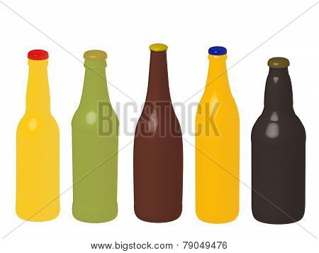 Different Kinds Of Beer Bottles Without Labels 3D