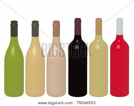 Different Kinds Of Wine Bottles Without Labels 3D