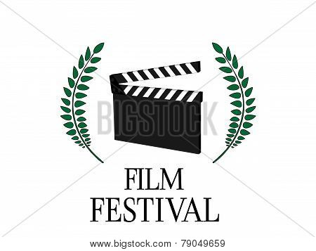 Film Festival Poster with Slate on White Background