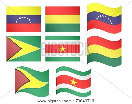 South America Flags - Venezuela, Bolivia, Guyana, Suriname