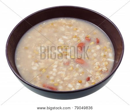 Rustic Mess Of Pottage In Bowl Isolated On White