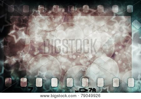 Grunge scratched colorful film strip with stars background