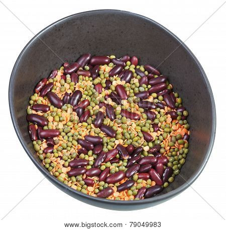 Beans Mixture In Ceramic Bowl Isolated On White
